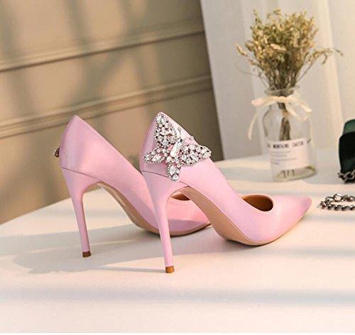 der Frauen Xue Einzelnen Hochzeitsschuhfrau Beschuht Chinesischen Schuhfrauenhohen Rosa der Schuhe absatzfrauengeldstrafe Court Schuhe mit Hochzeitsbraut Qiqi qTwXBwIU