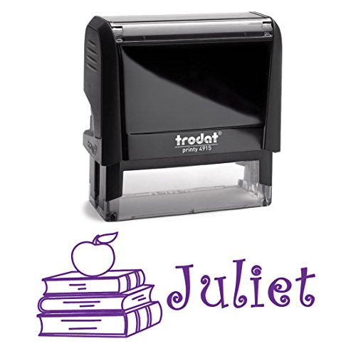 Children's Signature Stamp With Stack of Books with an Apple. Self Inking Stamper With Purple Ink. Perfect For Kids, Students, Teachers for School Work Labelling with Personalized Name