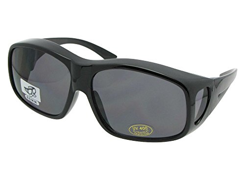 - Largest Non Polarized Fit over Sunglasses Style F19 Sunglass Rage (Black Frame-Non Polarized Gray Lenses)