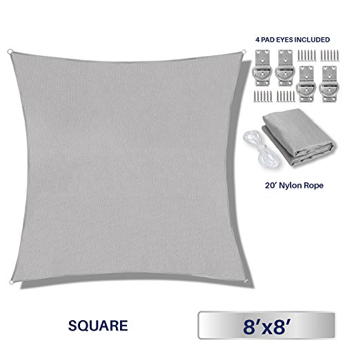 Windscreen4less 8' x 8' Square Sun Shade Sail - Solid Light Grey Durable UV Shelter Canopy Patio Outdoor Backyard - Custom by Windscreen4less