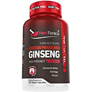 High Strength Korean Red Panax Ginseng Capsules 1500 mg Supplement -120 Vegan Pills High Ginsenosides Powder Extract to Boost Energy, Endurance, Mood, Performance & Sexual Health Pills for Men