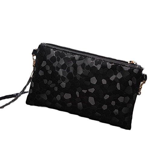 yo Leather Vi 21 Black Women Sequins Fashion Handbag 3cm Mini Party Bag Phone Small 13 Retro Package size Shoulder Black Fwq8wCd