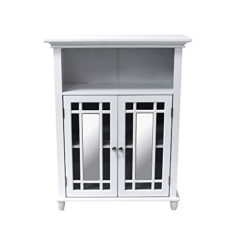 NB Liner Free Standing Mirrored Storage Cabinet for Living Room Bathroom, White