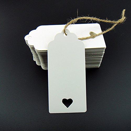 100weiße Kraftpapier-Etiketten, blanko für Hochzeit, für Karten, Geschenkanhänger, Gepäckanhänger, Preisetikett, Anhängerschild (100 Stück), mit Herz