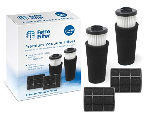 Fette Filter - Pre Motor Odor Trapping Filter Compatible with Dirt Devil Endura & Exhaust Filter Compatible with Dirt Devil Exhaust Filter. Compare to Part F112 & F111. (4 Filters) - Motor Exhaust Filter