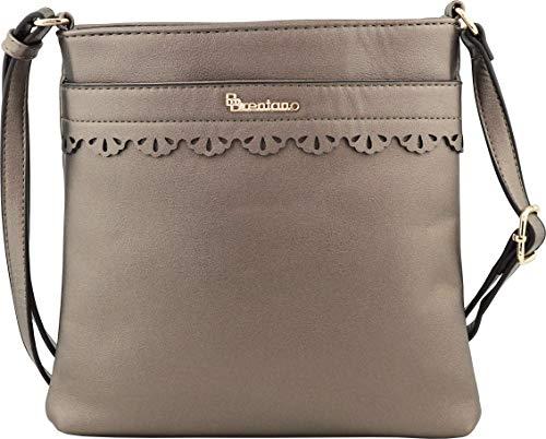 B BRENTANO Vegan Medium Crossbody Handbag Purse (Pewter.)