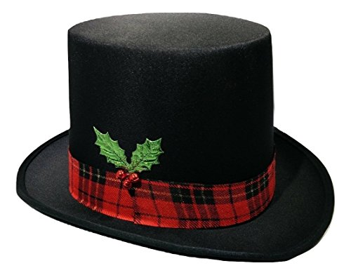Snowman Top Hat with Plaid Band Holly and Berries, Multi, One Size Black -