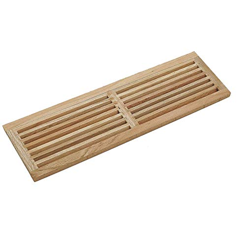 (WELLAND 8 Inch x 36 Inch Red Oak Hardwood Register Cold Air Return Wall Vent, Unfinished)