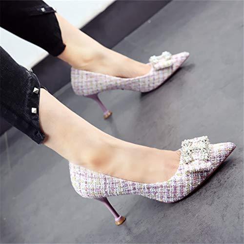 con Trabajo otoño Puntiagudas Primavera y de Temperamento tacón Zapatos de Zapatos Elegante Baja YMFIE Alto Fina Moda Boca Boda B Zapatos de Lentejuelas WxfwUUn