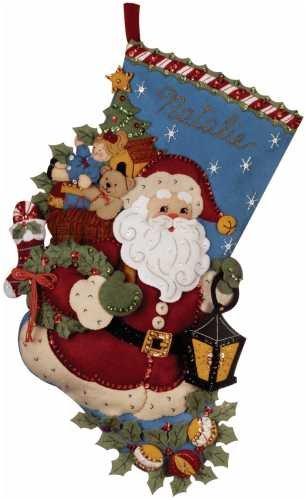 Christmas Stockings Kits.Bucilla Christmas Joy Stocking Felt Applique Kit