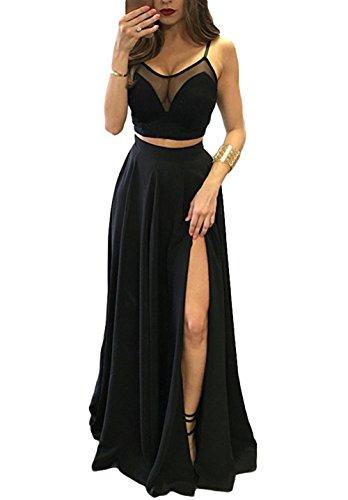 alilith.Z Sexy Spaghetti Strap Prom Dresses 2 Piece Long Ruffles Chiffon Bridesmaid Dresses for Women ()
