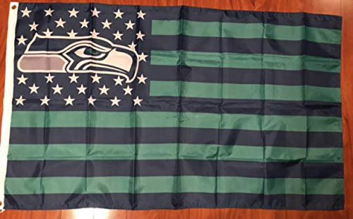 (Seattle Seahawks Stars Stripes Banner Flag 3 ft by X 5 ft American Football Fan)