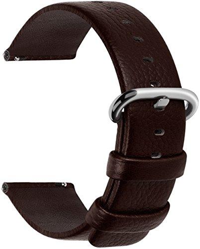 Release Leather Watch Band, Fullmosa Uli Genuine Leather Watch Strap 20mm Dark Brown ()