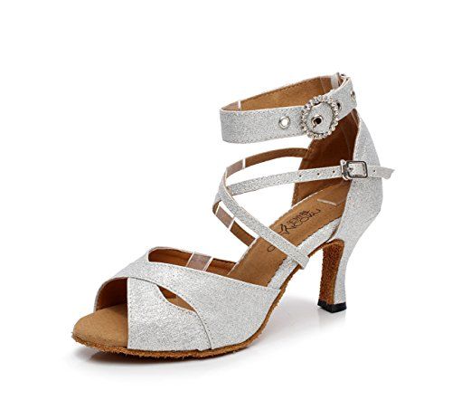JSHOE Chaussures de Danse pour Femmes Latin Salsa/Tango/Thé/Samba/Moderne/Jazz Chaussures Sandales Talons Hauts,Silver-heeled8.5cm-UK3.5/EU34/Our35