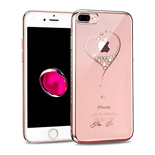KINGXBAR for Apple iPhone 8 Plus Case,iPhone 7 Plus Case,Bling Diamond Crystals from Swarovski Element,Fashion Hard PC Transparent Sparkly Cover for Christmas Party