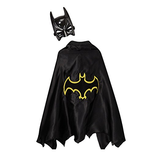 Kids Black & Yellow Bat Superhero Dress Up Cape & Mask Set