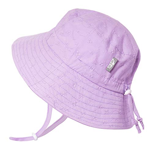 JAN & JUL Toddler Girls Cotton Bucket Sun Hats 50 UPF, Drawstring Adjustable, Stay-on Tie (M: 6-24m, Lavender Eyelet)
