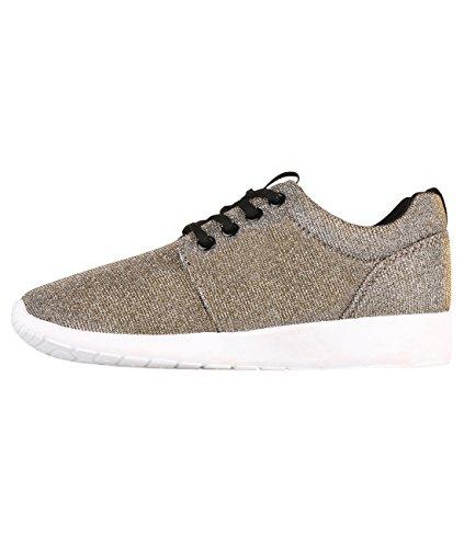 Krisp Womens Leggero Allacciatura Lurex Sport Scarpe Da Corsa Sneakers Oro (5480)