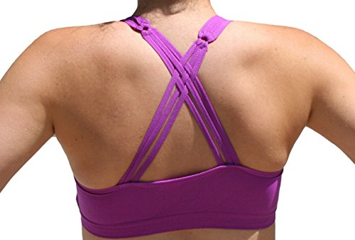 Anemone Strappy Criss-cross Back Comfort Sports Bra with Removable Pads (O/S, Cassis)