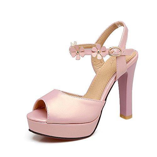 de Toe QIN Sandalias Mujer Bloque Pink Peep Plataforma amp;X Tacones de EEqRBY