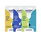 Sustain Non-Toxic Fair Trade Lubricated Latex Condom Variety Pack, 9 Count