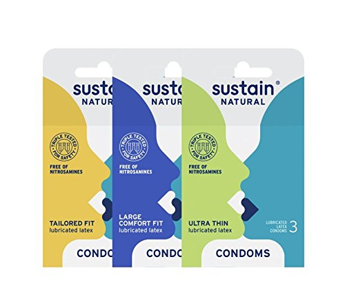 Sustain Non-Toxic Fair Trade Lubricated Latex Condom Variety Pack, 9 Count by Sustain