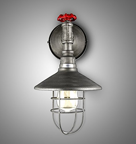 """Price comparison product image Industrial Iron Pipe Wall Light Fixture Vintage Bar Restaurant Retro Antique Aged Iron Black 8"""" Wide X 13"""" Height Steam Rust Water Pipe Wall Lamp Sconce Vintage E26 Edison"""
