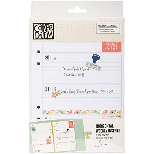 Carpe Diem Planner Essential Horizontal Format Weekly Inserts - Horizontal Monthly Pocket Planner