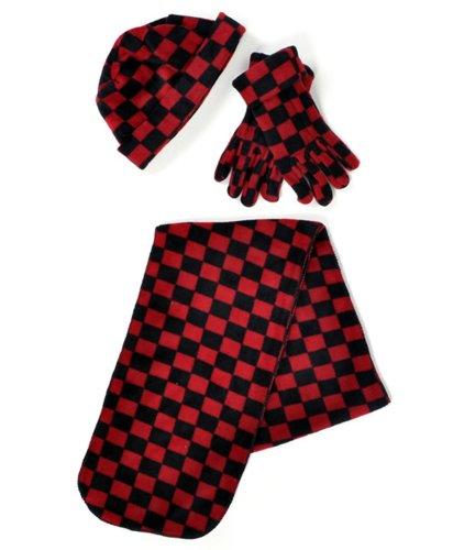 Red & Black Buffalo Plaid Printed Fleece Womens Winter Set