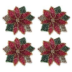 Set of 4 Poinsettia Beaded Napkin Rings ()