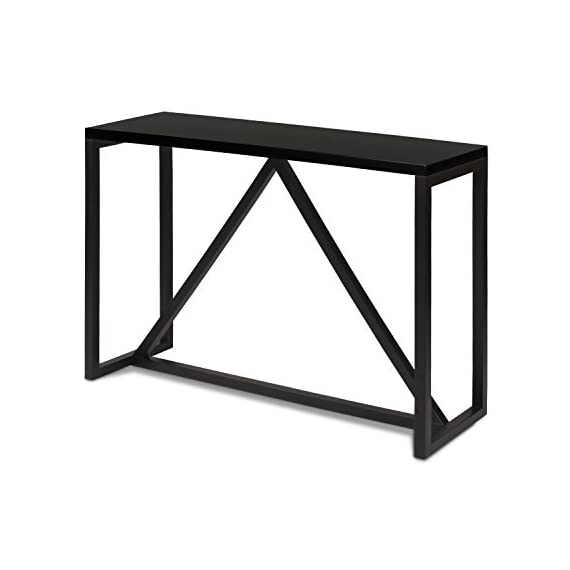 Kate and Laurel Kaya Wood Console Table, Black - Decorative modern console table brings a stylish statement to your home entryway or living room Bring glamour and sophistication into your home with this modern minimalist design console table Console table is high quality and measures 42 inches wide by 14 inch deep by 30 inches high - living-room-furniture, living-room, console-tables - 41K1x13cbuL. SS570  -