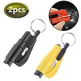 3 in 1 Car Escape Tool,Emergency Safety Hammer Glass Car Window Breaker Keyring Seat Belt Cutter (Black/Yellow)
