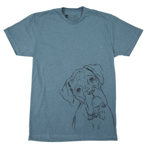 Inkopious Men's Boxer Dog with a Bow Tie T-Shirt Large Indigo (Boxer Dog Shirts)