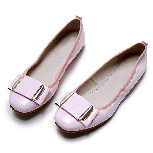 AllhqFashion Damen PU Leder Rein Ziehen auf Rund Zehe Ohne Absatz Flache Schuhe Pink