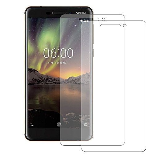 【2 Pack】Nokia 6 2018 tempered glass screen...