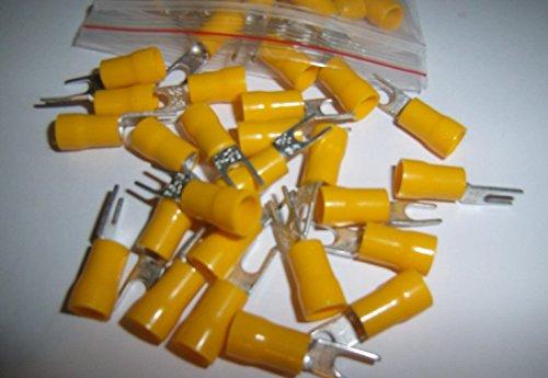 25 Wire Spade Fork Connector Yellow Vinyl Terminal #10 Car Audio Amp Alarm Crimp