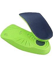 NC Palmilhas ortopédicas à prova de choque Arch Suporta palmilhas ortopédicas Homens Mulheres Pastilhas para alívio da dor no calcanhar para caminhada e - Verde Azul M