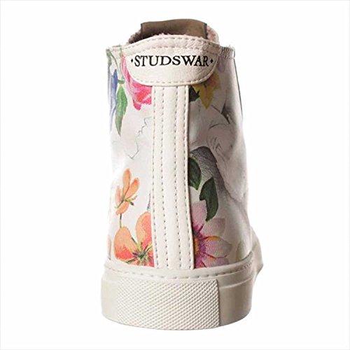 Studswar, Flache Sandalen Frauen White