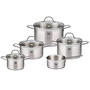 ELO Top Collection 18/10 Stainless Steel Kitchen Induction Cookware Pots and Pans Set with Shock Resistant Glass Lids and Integrated Measuring Scale, 9-Piece