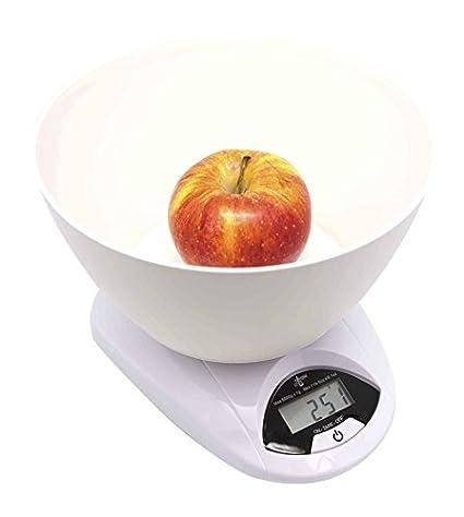 Silicone Gold SG3010 Bascula de Cocina Digital con Recipiente, Blanco, 25x25x18 cm