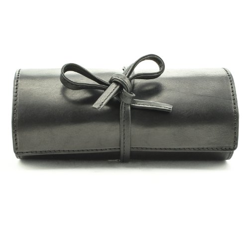 Tony Perotti Italian Cow Leather Premium Combination Jewelry Roll with Tie Closure, Black