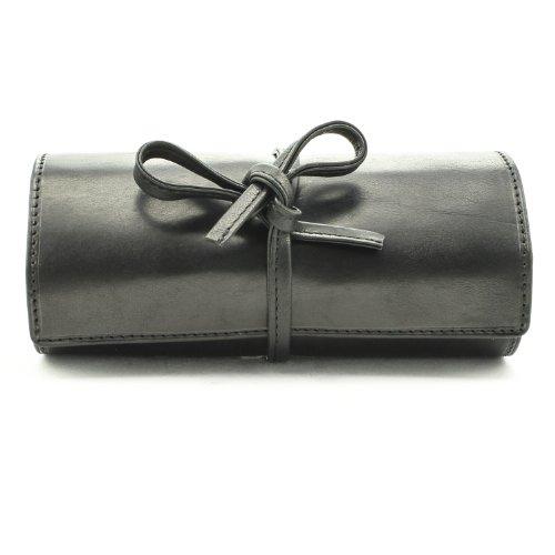 (Tony Perotti Italian Cow Leather Premium Combination Jewelry Roll with Tie Closure, Black)