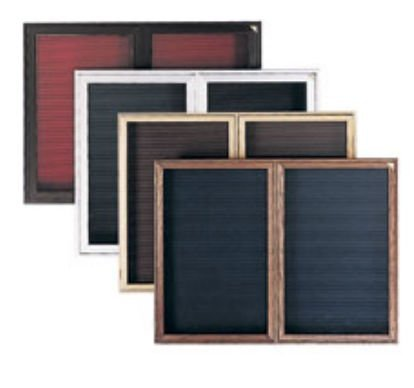 Ghent 36'' x 30'' 1 Door Enclosed Flannel Letter Board, Black Letter Panel, Cherry Finish (PWC13630B-BK)