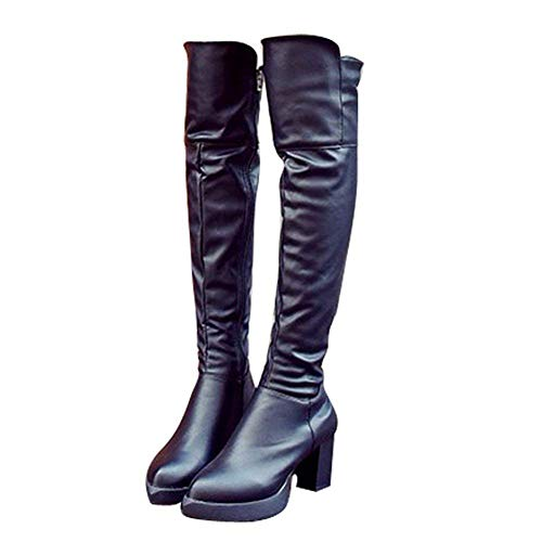 Alto Estrecha 38 Rodilla en Invierno de Punta para con 35 la EU Eu tacón SED Gruesos Zapatos Mujer de con Negro Botas qOaRa6t