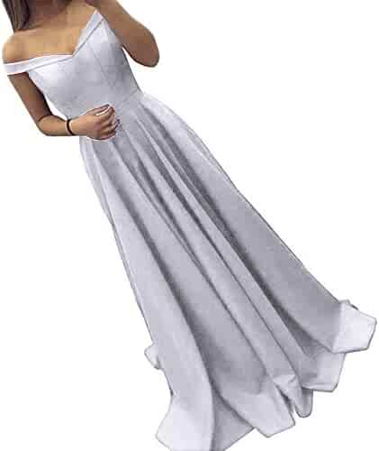 6fcad5de2d4 Dressylady Off The Shoulder A Line Long Prom Homecoming Dress Evening Gowns