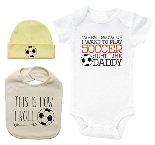 Soccer Themed Baby Gift Set/Onesie/Bib/Hat/Unisex Baby Shower Bundle (0-3M)]()