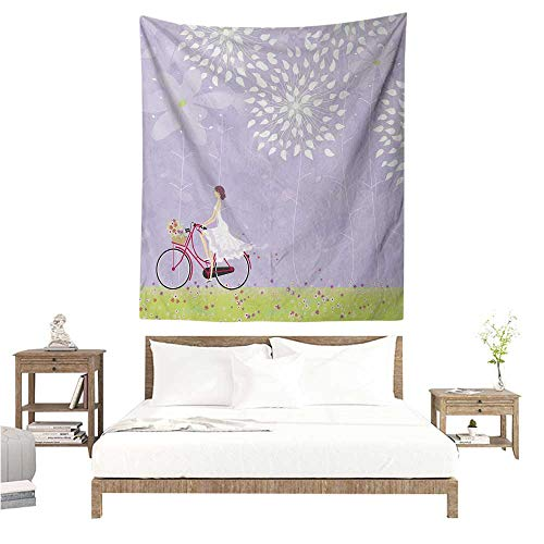 Cartoon DIY Tapestry Girl Riding Bike Windy Weather in The Garden with Grass Artwork Living Room Background Decorative Painting 70W x 93L INCH Lavander Apple Green -