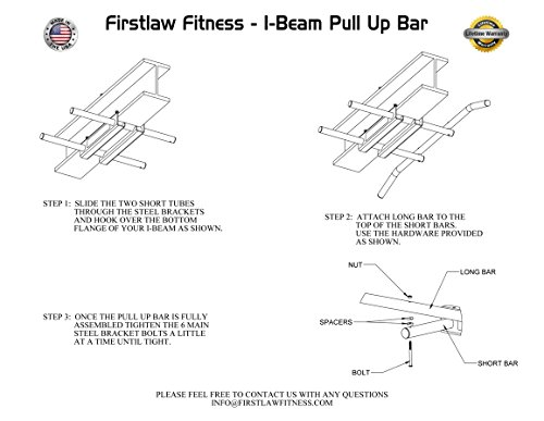 Firstlaw Fitness - 600 LBS Weight Limit - I-Beam Pull Up Bar - Long Bar with Bent Ends WITH Pull Up Assist - Durable Rubber Grips - Black Label - Made in the USA! by Firstlaw Fitness (Image #9)