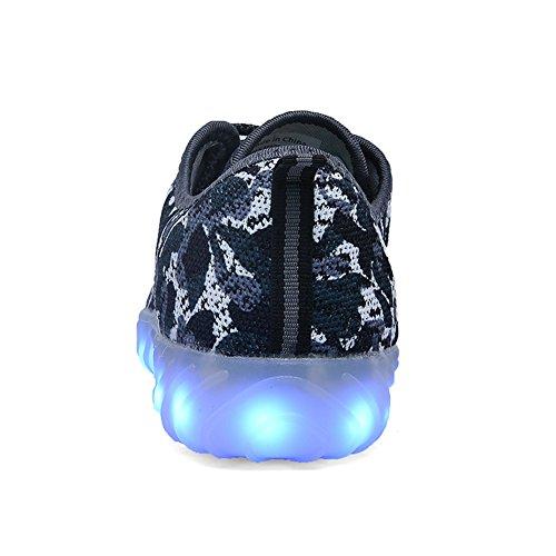 UNN LED leuchten Schuhe für Männer Frauen und Kinder USB Lade blinkt leuchtende leuchtende Turnschuhe Camouflage-blau1