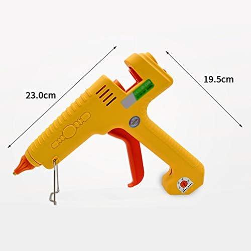 Minmin ホットメルト接着ガン、DIY用スティックのりと反やけどスリーブ、クリスマスの装飾、黄色で300W温度調整ハイパワープロフェッショナル産業ホットグルーガン、 ミニ (Color : A)